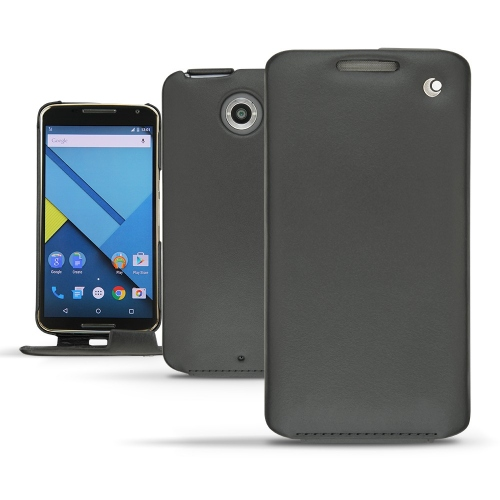 Motorola Nexus 6 leather case - Noir ( Nappa - Black )