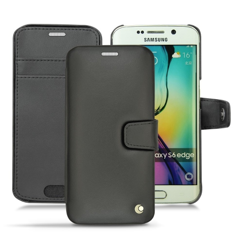 Samsung Galaxy S6 Edge leather case - Noir ( Nappa - Black )