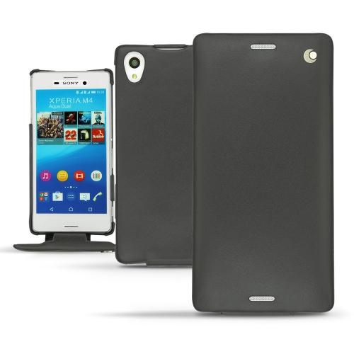 Sony Xperia M4 Aqua leather case - Noir ( Nappa - Black )