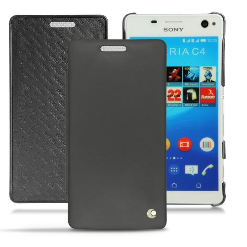 Sony Xperia C4 leather case - Noir ( Nappa - Black )