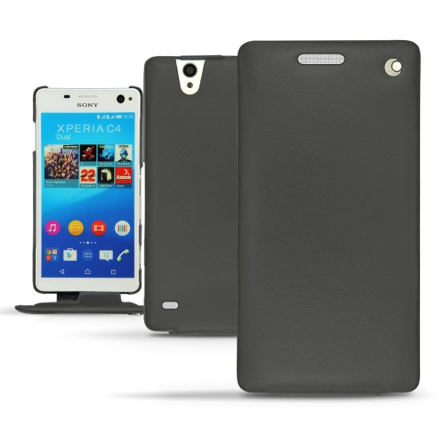 Sony Xperia C4 leather case - Noir ( Nappa - Black )