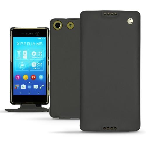 Sony Xperia M5 leather case - Noir ( Nappa - Black )