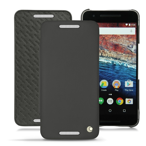Huawei Nexus 6P leather case - Noir ( Nappa - Black )