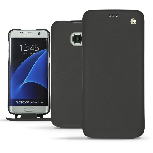 Samsung Galaxy S7 Edge leather case - Noir ( Nappa - Black )
