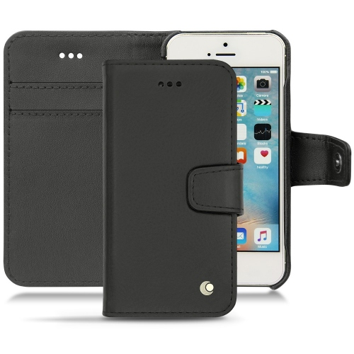 Apple iPhone SE leather case - Noir ( Nappa - Black )