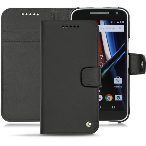 Motorola Moto G4 leather case - Noir ( Nappa - Black )