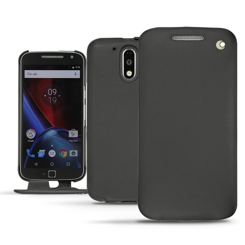 Lenovo Moto G4 Plus leather case - Noir ( Nappa - Black )