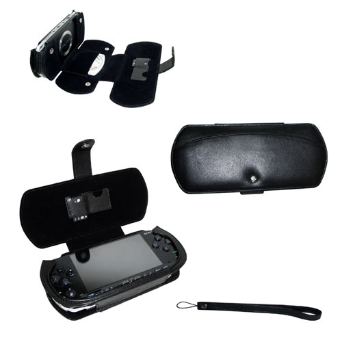 Leather case Sony PSP  - Noir ( Nappa - Black )