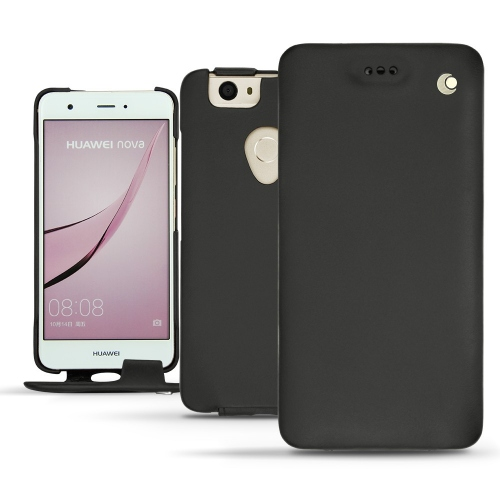 Huawei Nova leather case - Noir ( Nappa - Black )