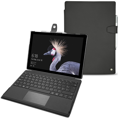 가죽 커버 Microsoft Surface Pro (2017) - Noir ( Nappa - Black )