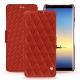 Housse cuir Samsung Galaxy Note8 - Papaye - Couture ( Pantone 180C )