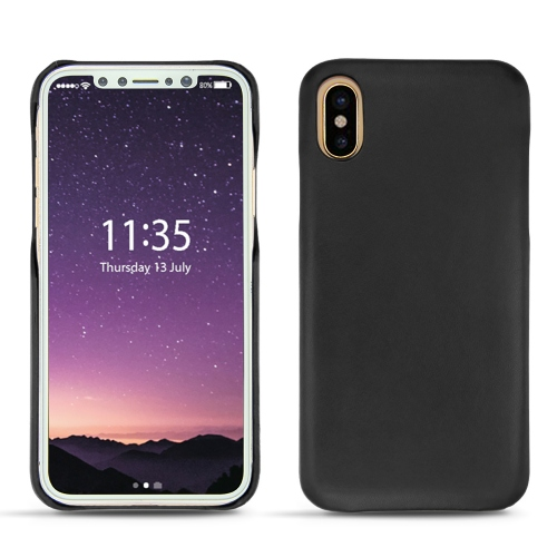 Apple iPhone X leather cover - Noir ( Nappa - Black )