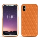 Coque cuir Apple iPhone X - Orange - Couture ( Nappa - Pantone 1495U )