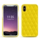 Coque cuir Apple iPhone X - Jaune fluo - Couture