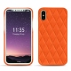 Coque cuir Apple iPhone X - Orange fluo - Couture