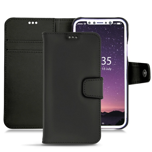 Apple iPhone X leather case - Noir PU