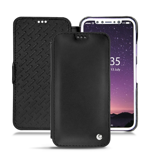 Apple iPhone X leather case - Noir ( Nappa - Black )