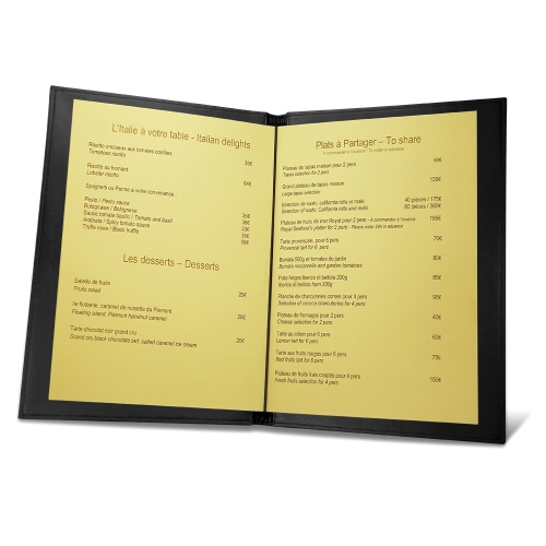 Room service menu holder A4