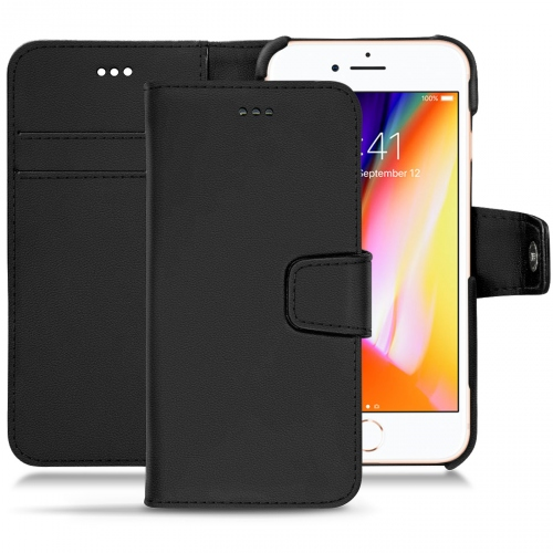 Apple iPhone 8 leather case - Noir PU
