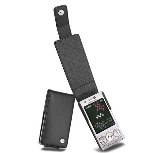 Sony Ericsson W705 - W715  leather case - Noir ( Nappa - Black )