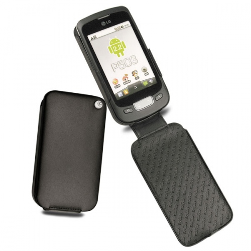 LG P500 Optimus One  leather case - Noir ( Nappa - Black )