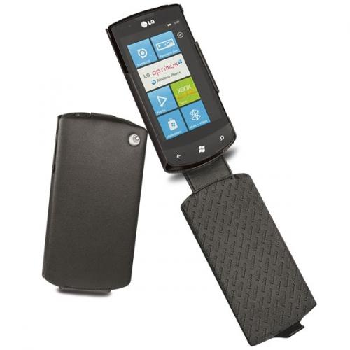 Housse cuir LG E900 Optimus 7  - Noir ( Nappa - Black )