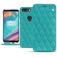 Housse cuir OnePlus 5T - Bleu fluo - Couture