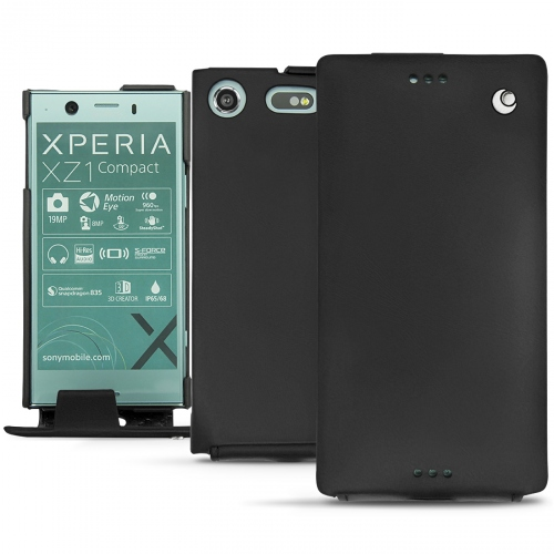 Housse cuir Sony Xperia XZ1 Compact - Noir ( Nappa - Black )
