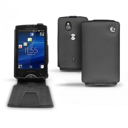 Housse cuir Sony Ericsson Xperia Mini Pro  - Noir ( Nappa - Black )