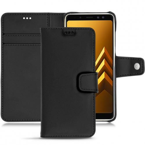 Samsung Galaxy A8+ (2018) leather case - Noir PU