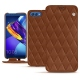 Huawei Honor View 10 leather case - Marron - Couture ( Nappa - Pantone 1615C )