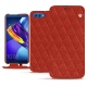 Huawei Honor View 10 leather case - Papaye - Couture ( Pantone 180C )