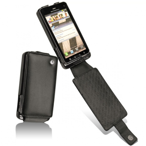 Motorola Milestone 3 - Droid 3  leather case - Noir ( Nappa - Black )