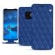 Housse cuir Samsung Galaxy S9 - Bleu océan - Couture ( Nappa - Pantone 293C )