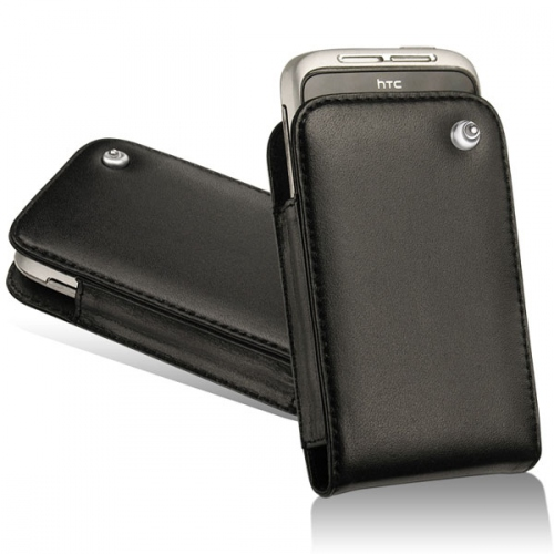 HTC Wildfire S leather case - Noir ( Nappa - Black )