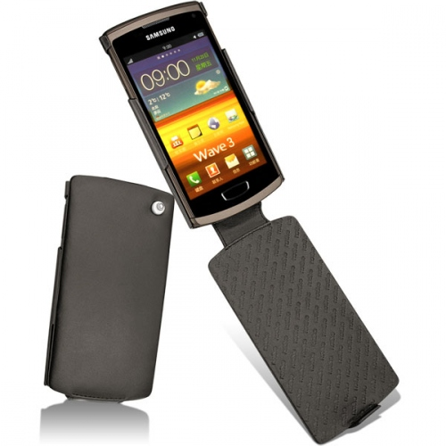 Samsung GT-S8600 Wave 3  leather case - Noir ( Nappa - Black )