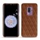 Coque cuir Samsung Galaxy S9+ - Marron - Couture ( Nappa - Pantone 1615C )