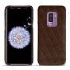 Coque cuir Samsung Galaxy S9+ - Châtaigne - Couture ( Pantone 476C )