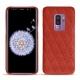 Coque cuir Samsung Galaxy S9+ - Papaye - Couture ( Pantone 180C )