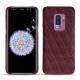 Samsung Galaxy S9+ leather cover - Lie de vin - Couture ( Pantone 5115C )