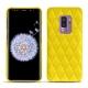 Coque cuir Samsung Galaxy S9+ - Jaune fluo - Couture