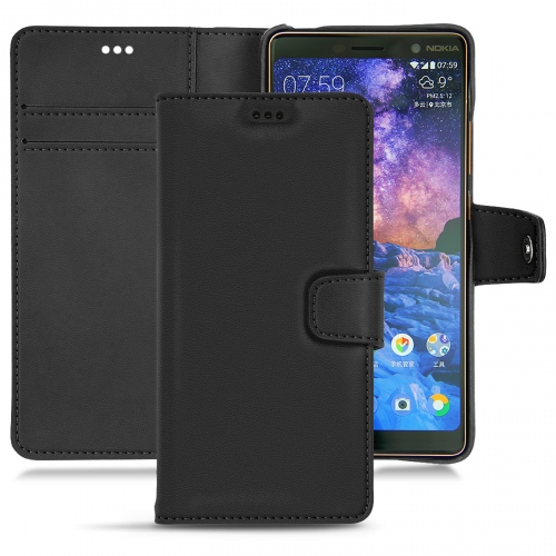 Nokia 7 Plus leather case - Noir PU