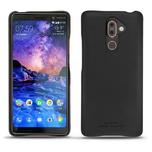 Nokia 7 Plus leather cover - Noir PU
