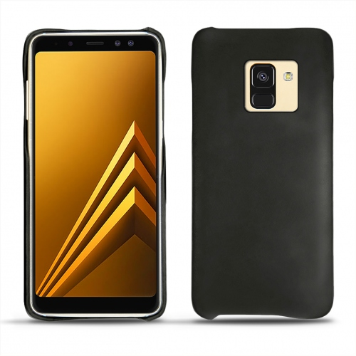 Samsung Galaxy A8+ (2018) leather cover - Noir ( Nappa - Black )