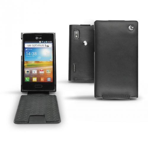 Housse cuir LG Optimus L5 E610  - Noir ( Nappa - Black )