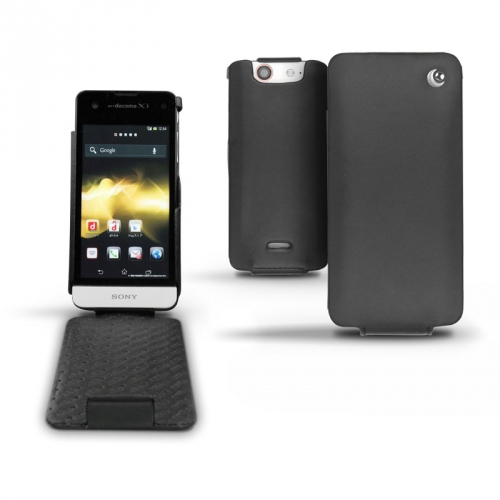 Sony Xperia SX  leather case - Noir ( Nappa - Black )