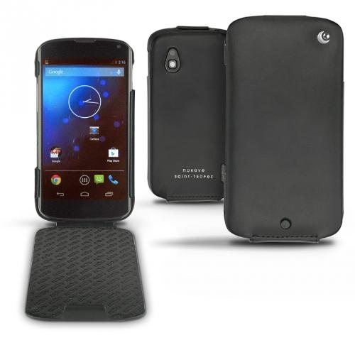 Custodia in pelle LG Google Nexus 4  - Noir ( Nappa - Black )