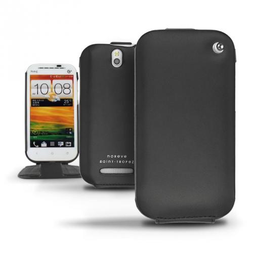 HTC One SV  leather case - Noir ( Nappa - Black )