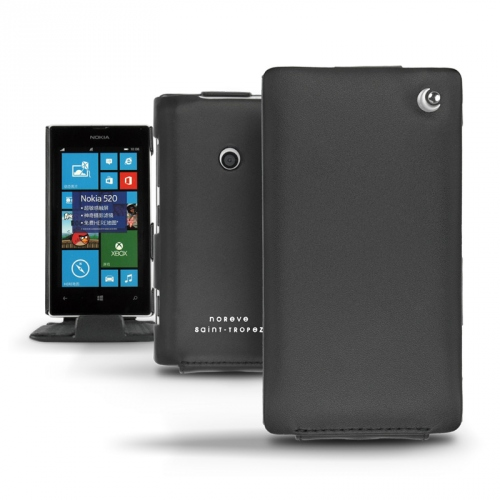 Nokia Lumia 520  leather case - Noir ( Nappa - Black )